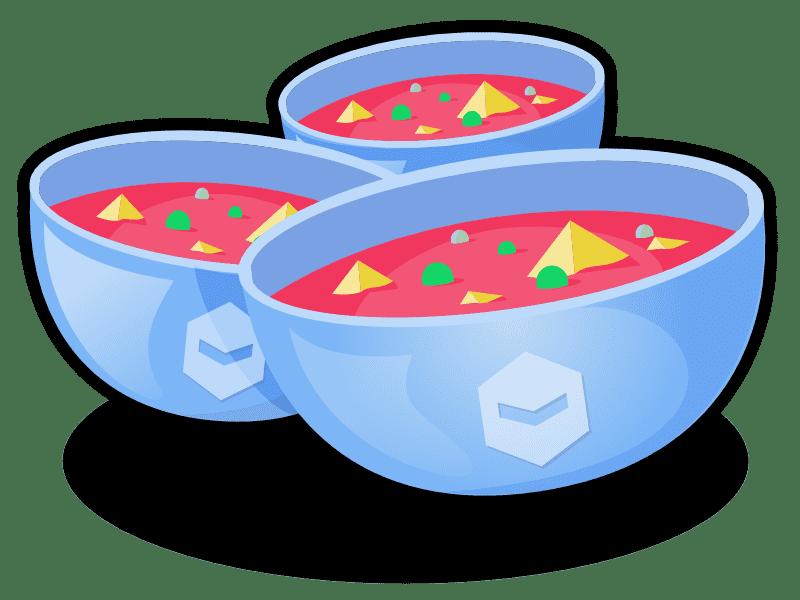 Three bowls of Deviant Robot soup.