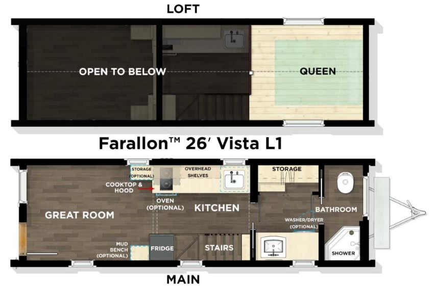Tumbleweed's Farallon Vista 26' floor plan, showing ground and loft floors.