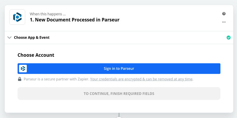 Sign in to Parseur from Zapier