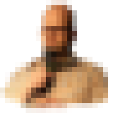 Pixelated Hank Thompson holding a microphone