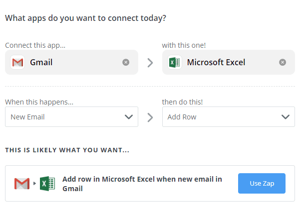 An automation using Zapier to connect Gmail with Excel.