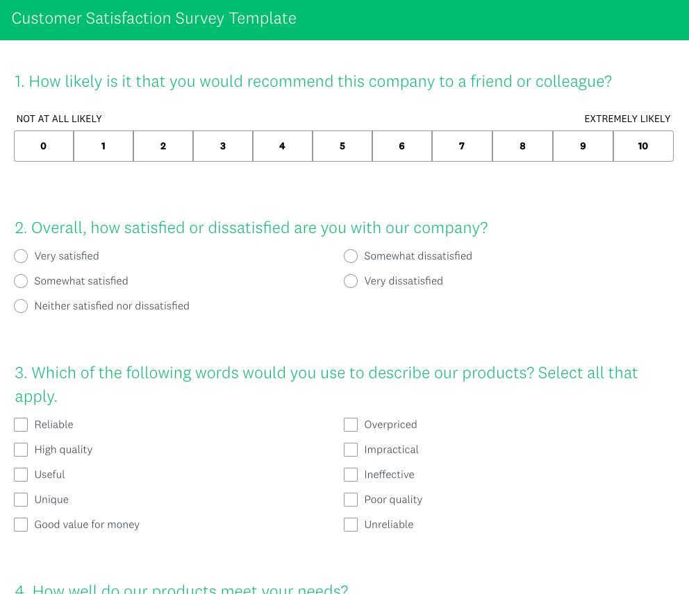 Surveymonkey Customer Satisfaction Survey Template
