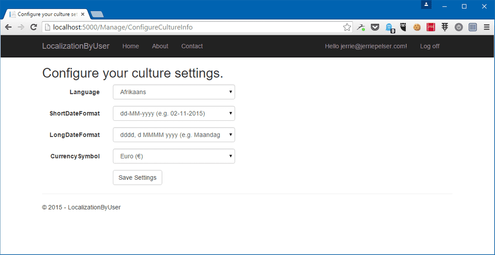 culture settings page
