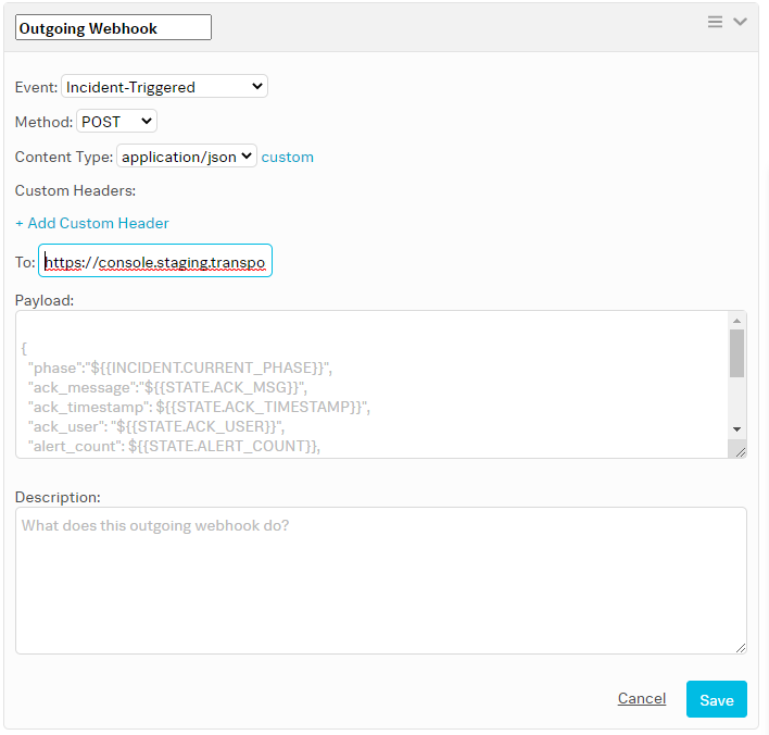Add outgoing webhook details to VictorOps