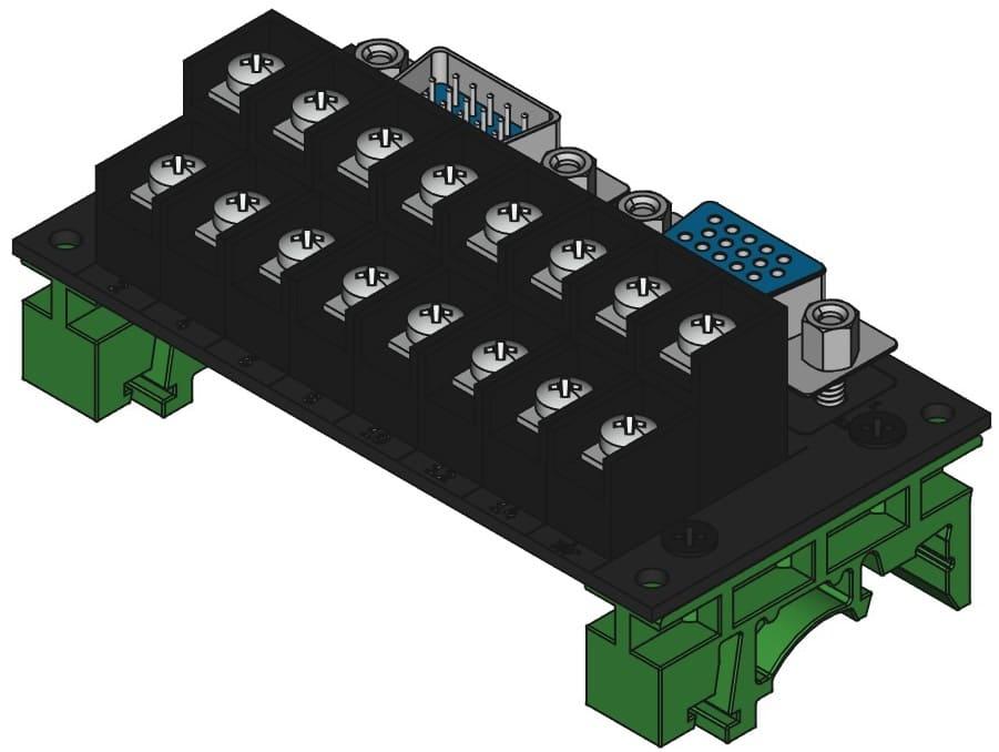 DE15MF-TB2X8をDINレール取付けする際の組立完成図