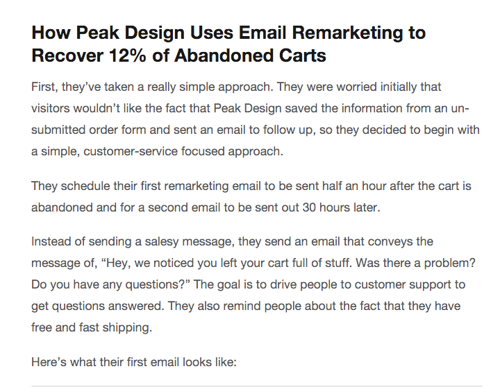 peak 12 percent abndoned carts