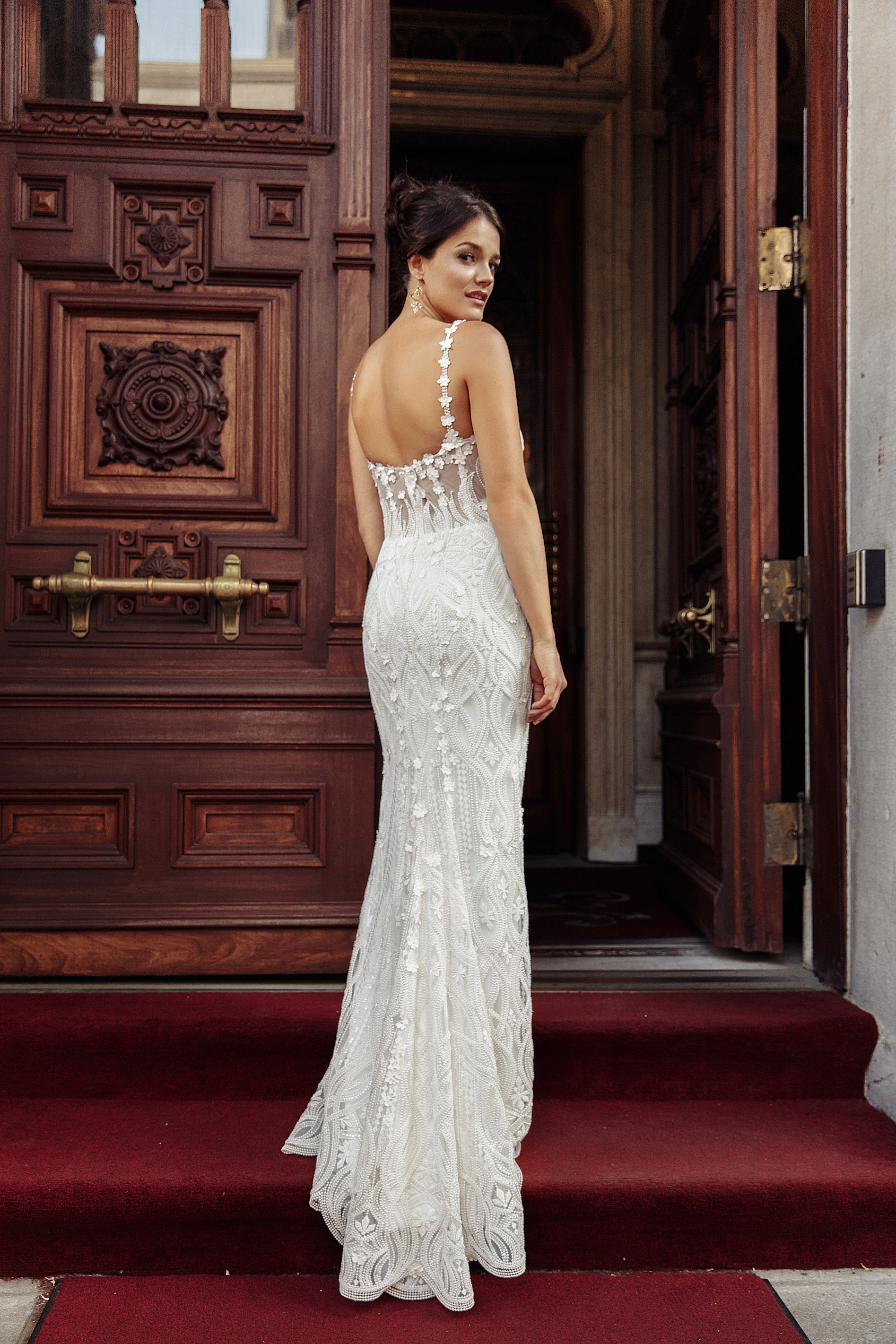mermaid lace gown with pearl lace wedding dress montreal wedding dress boutique