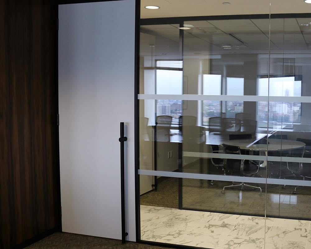 Glass Office with Frosted Sliding Door