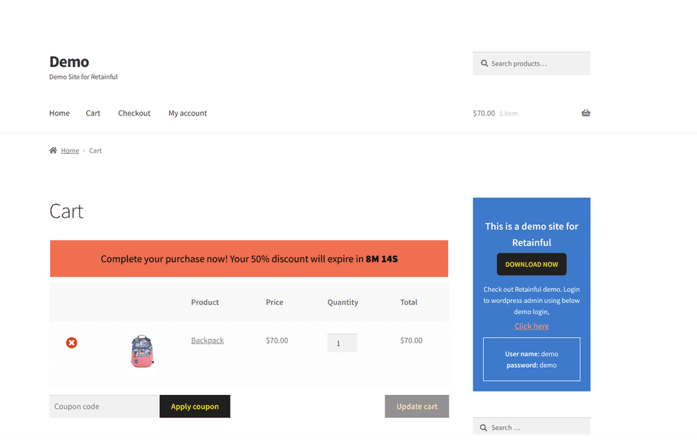 look in cart page