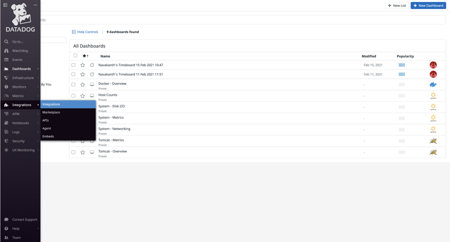 The integration option in Datadog.