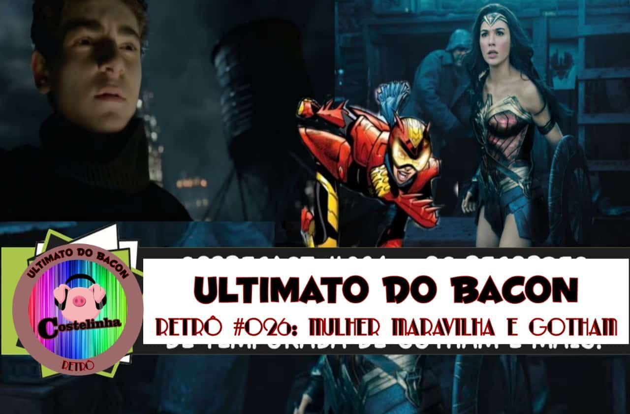 O jovem Bruce Wayne (David Mazousz) no seriado Gotham e Gal Gadot como Mulher-Maravilha
