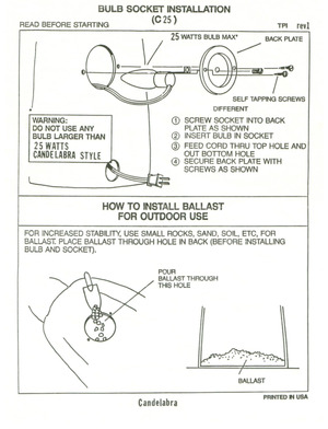TPI Plastics Bulb Socket Installation (C25) Instruction Manual preview