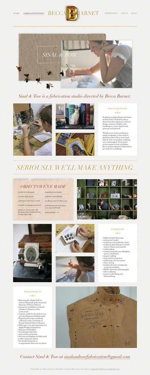 Screenshot of the Sisal & Tow page on Becca Barnet's website