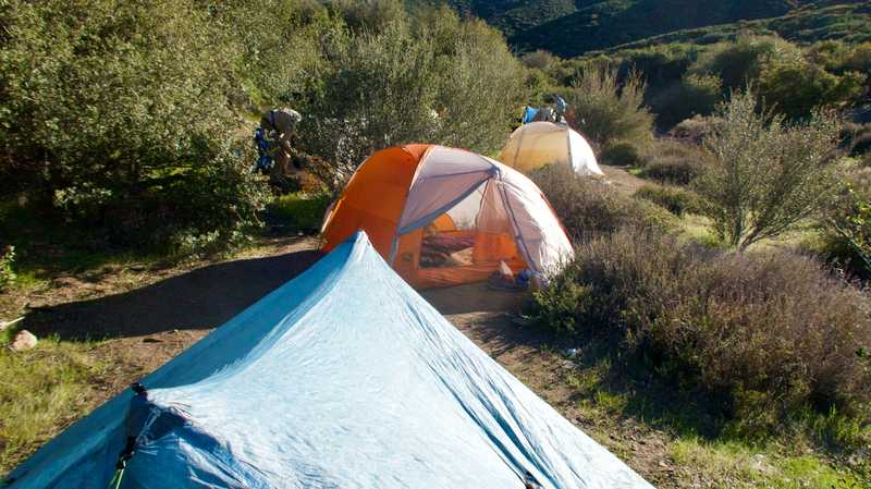 Many tents in Chariot Canyon