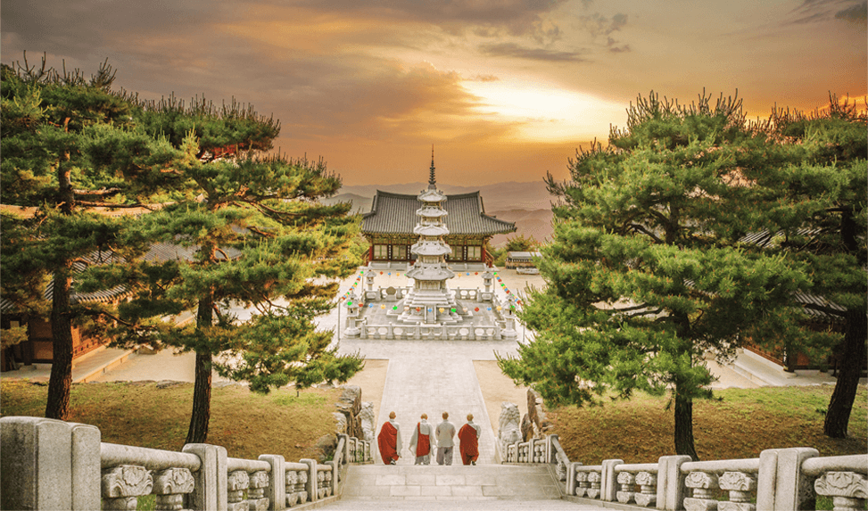A landscape with a temple and people