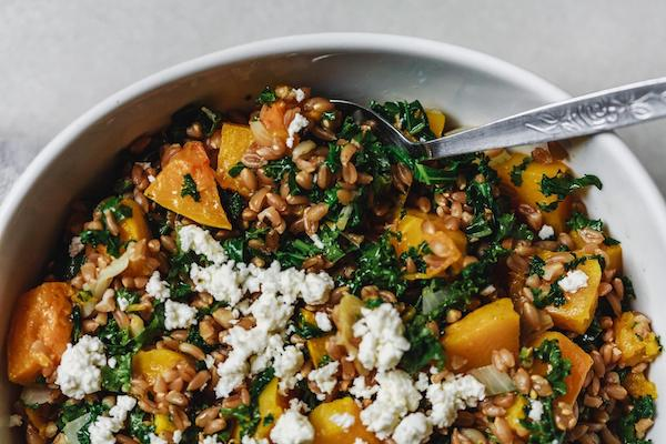 Roasted Butternut Squash Kale And Farro Salad With A Za'atar Dressing
