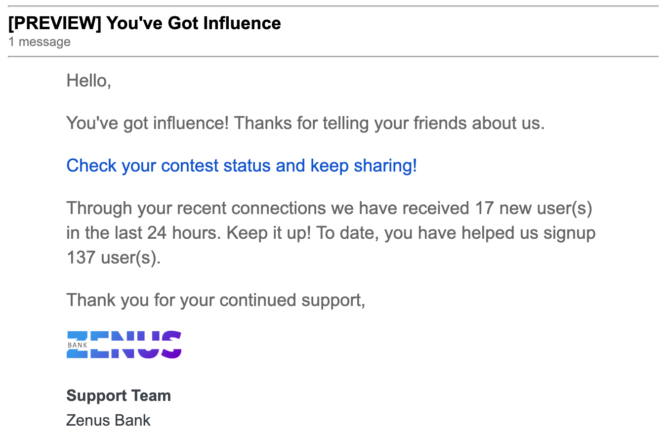 Zenus Influencer Email