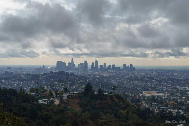 Los Feliz view of Downtown LA during storm
