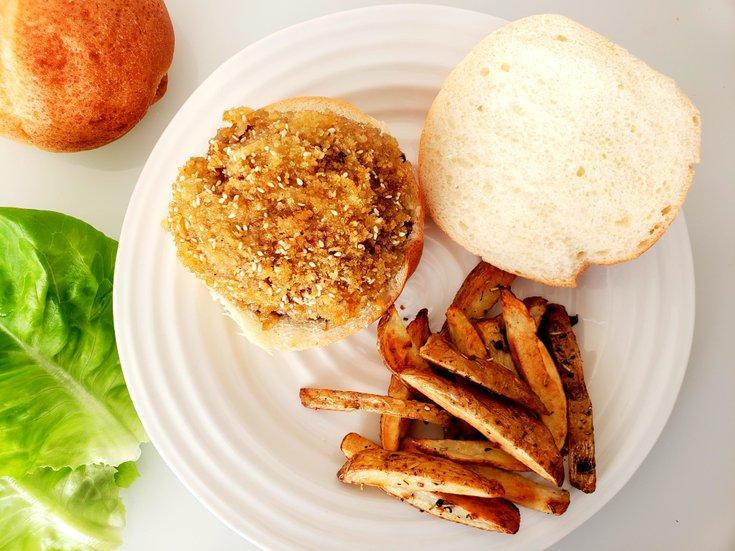 Open-Face Fried Portobello Mushroom Burger