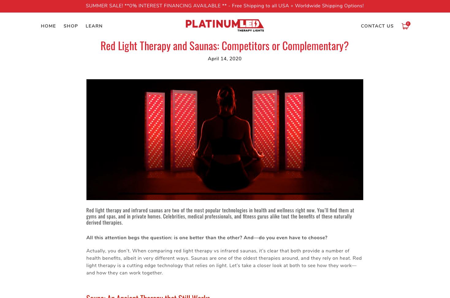 Platinum LED Therapy Lights Blog Snapshot