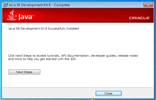 Install Java8 Finish