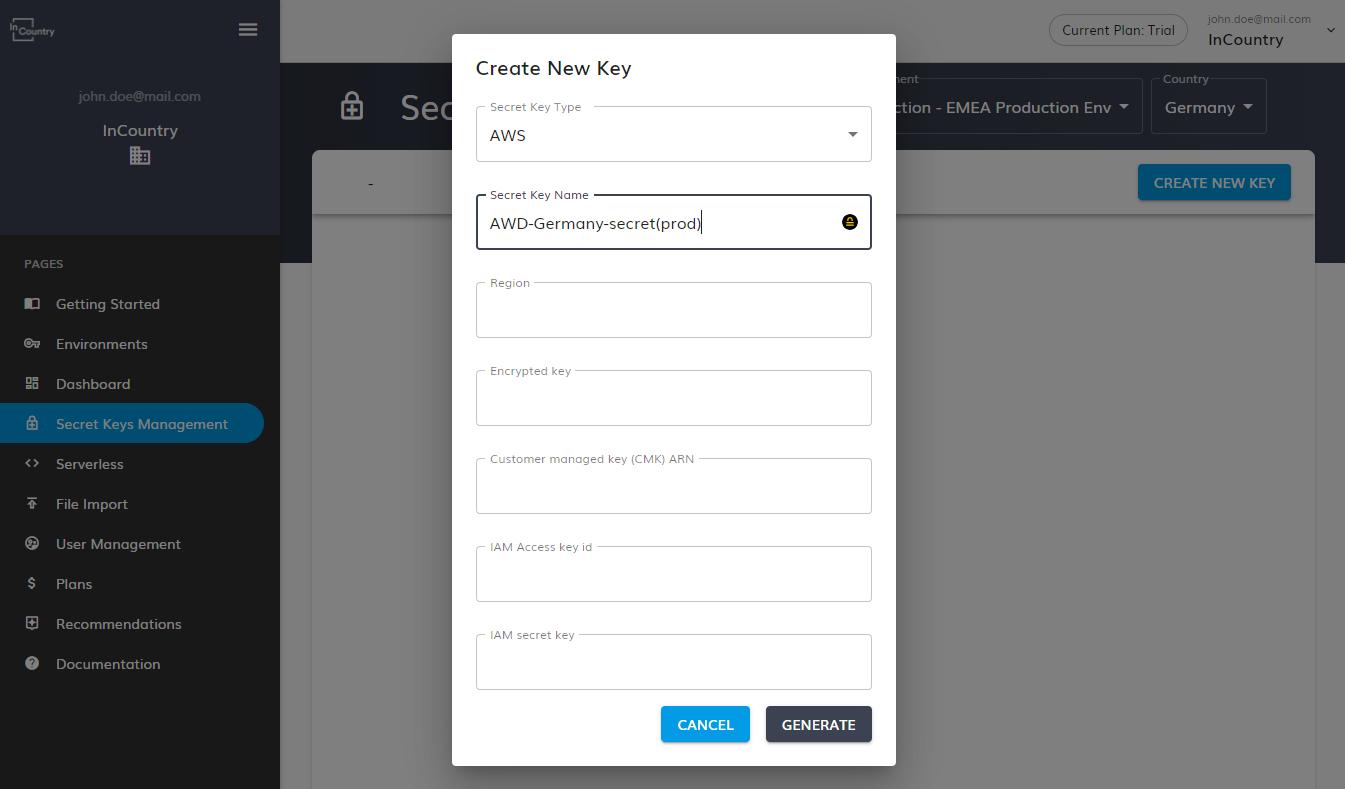 click Generate AWS key