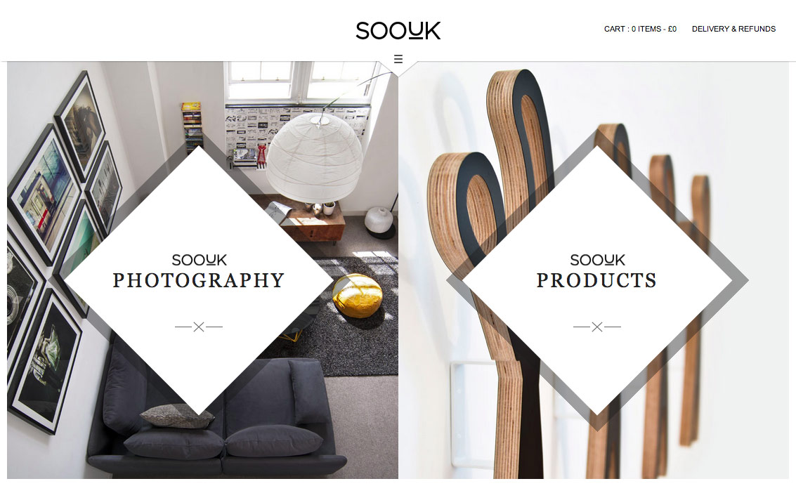 SooUK home page, showing a split view design offering Photography and Products options.