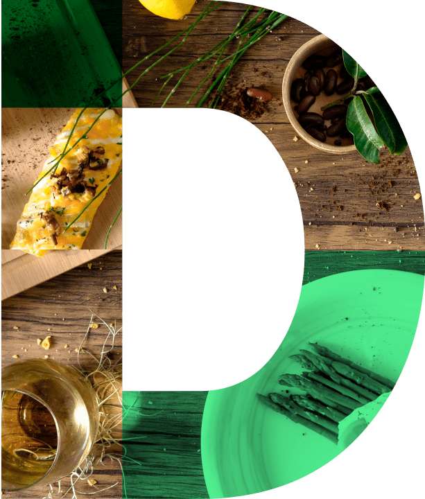 Letter D with images of food as fill
