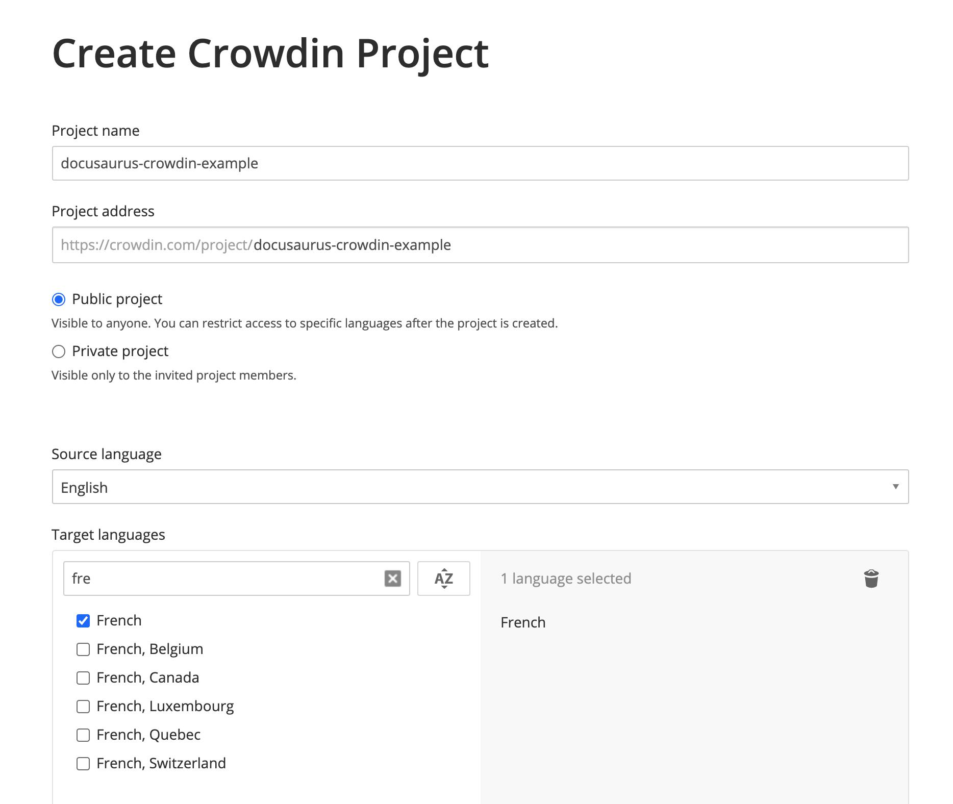 Créer un projet Crowdin avec l'anglais comme langue source, et le français comme langue cible
