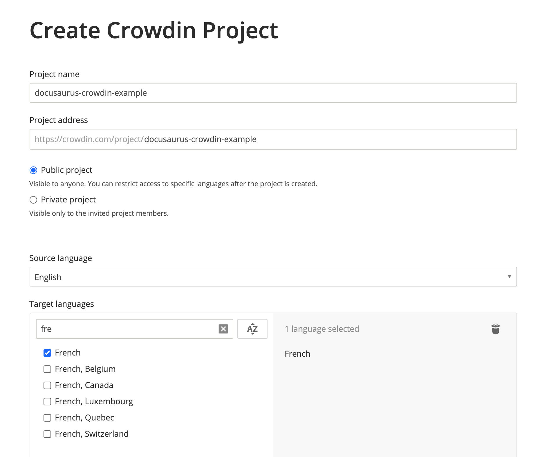 Create a Crowdin project with english as source language, and french as target language