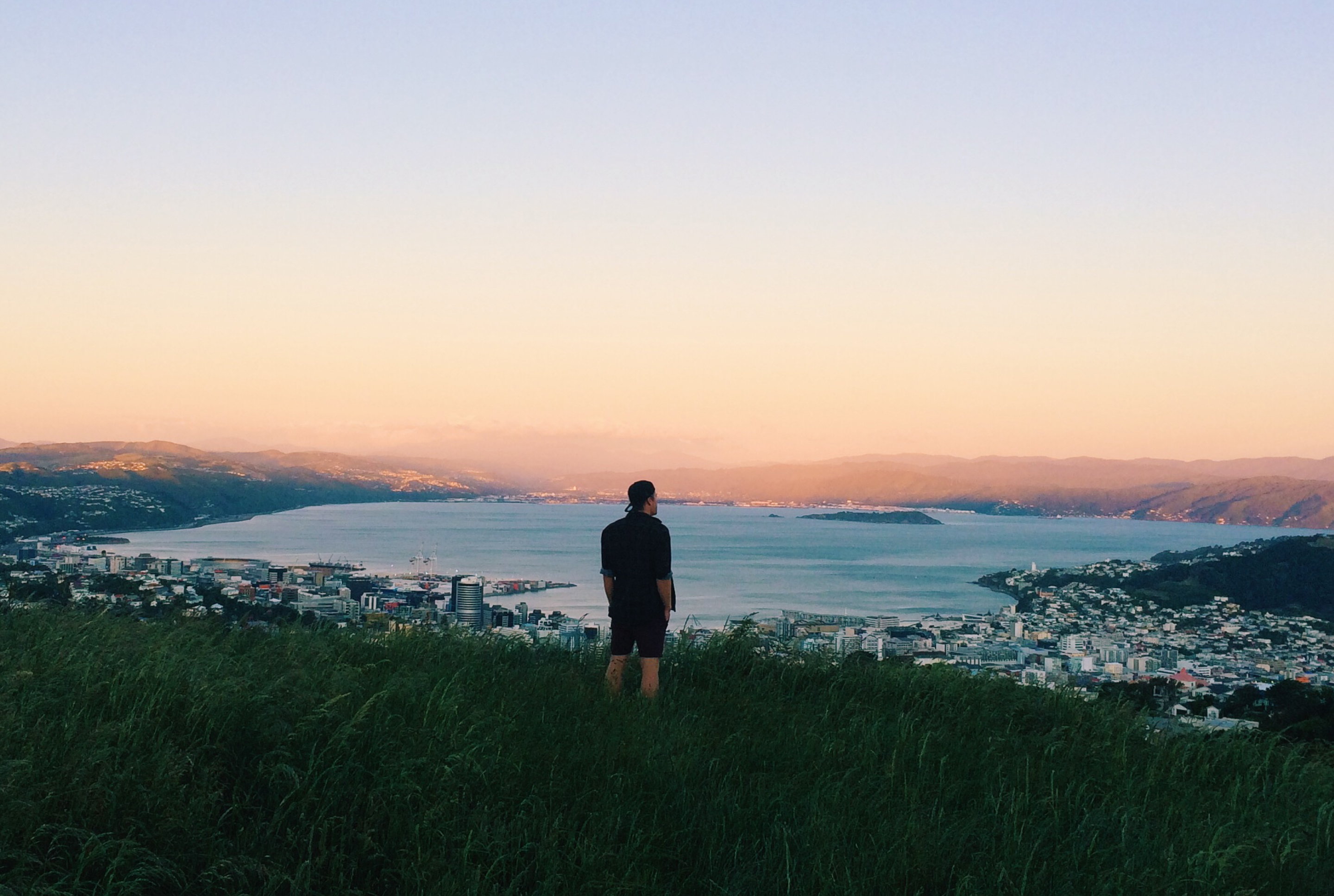Man standing on a hill overlooking Wellington
