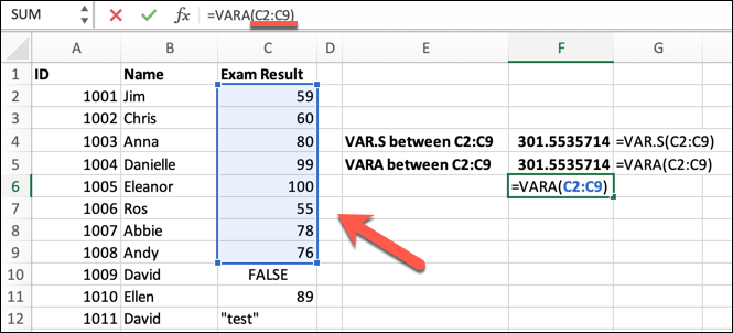 An Excel spreadsheet containing data for student ID, student name, and exam result. The VARA formula has been typed into the formula bar