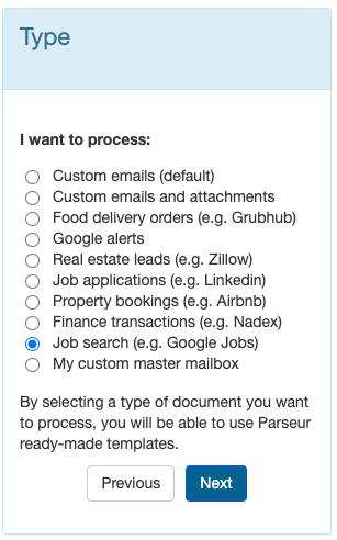select mailbox job applications
