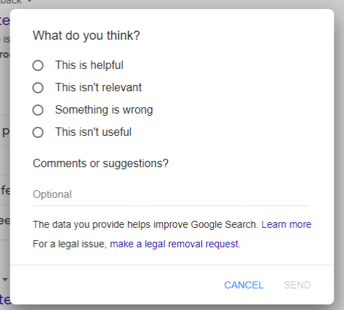 Product feedback example from Google