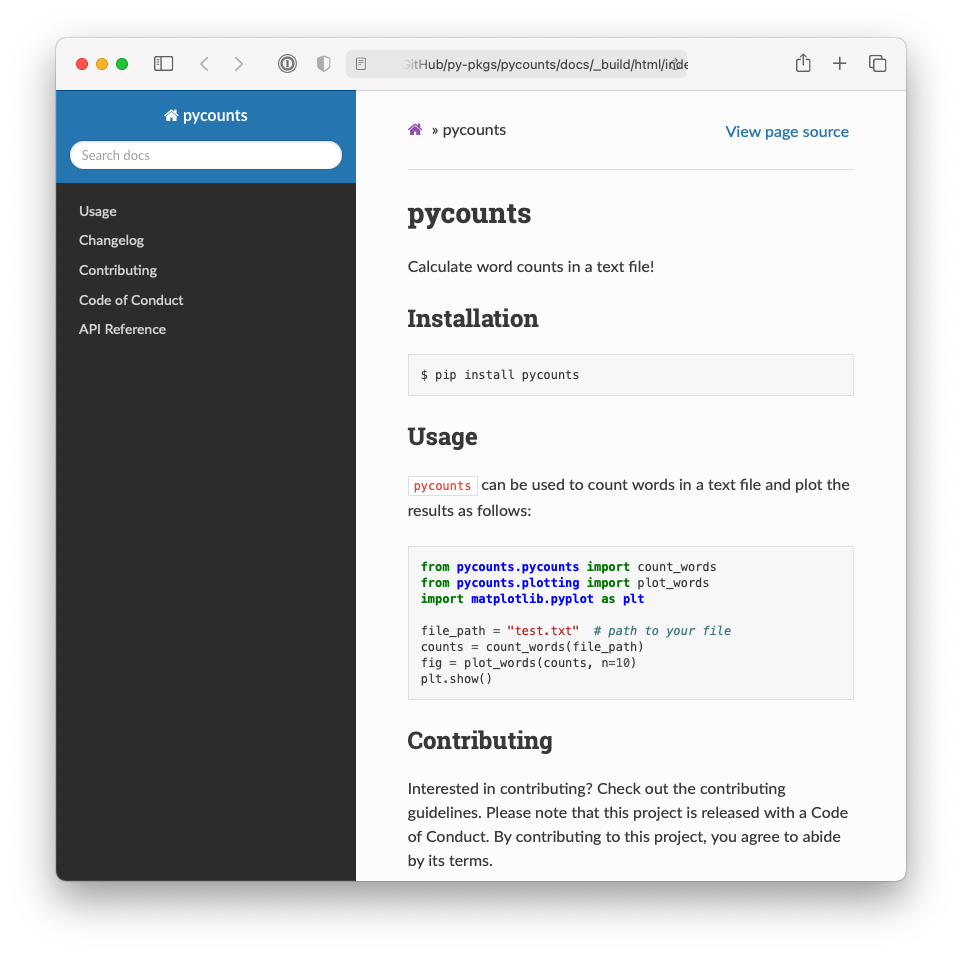 The documentation homepage generated by `sphinx`.