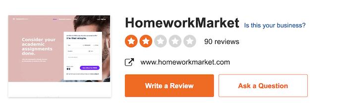 homeworkmarket.com rating on sitejabber is low