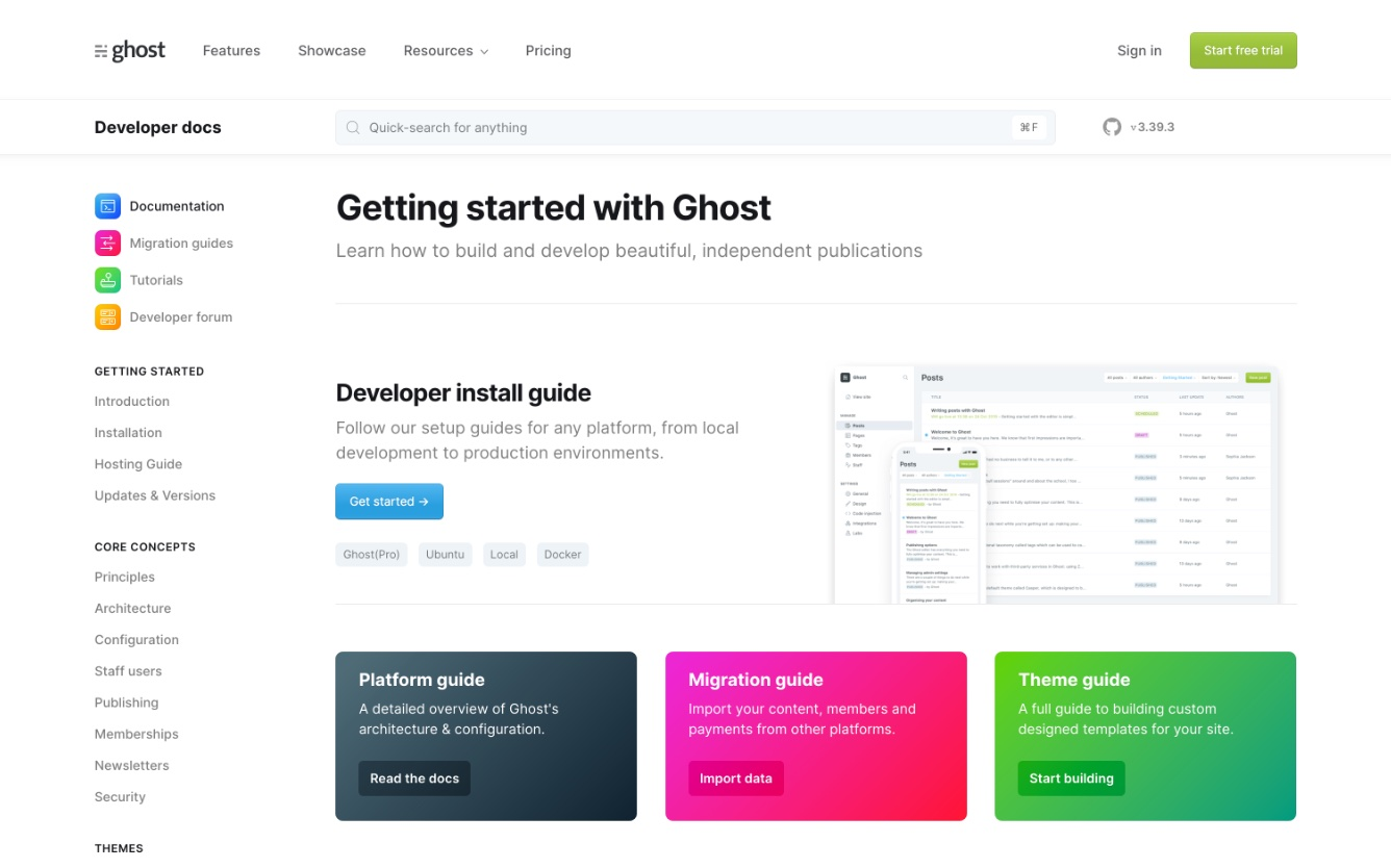 Ghost CMS Website Docs