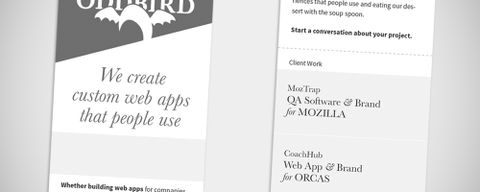Small-screen design proposal for the new OddBird website
