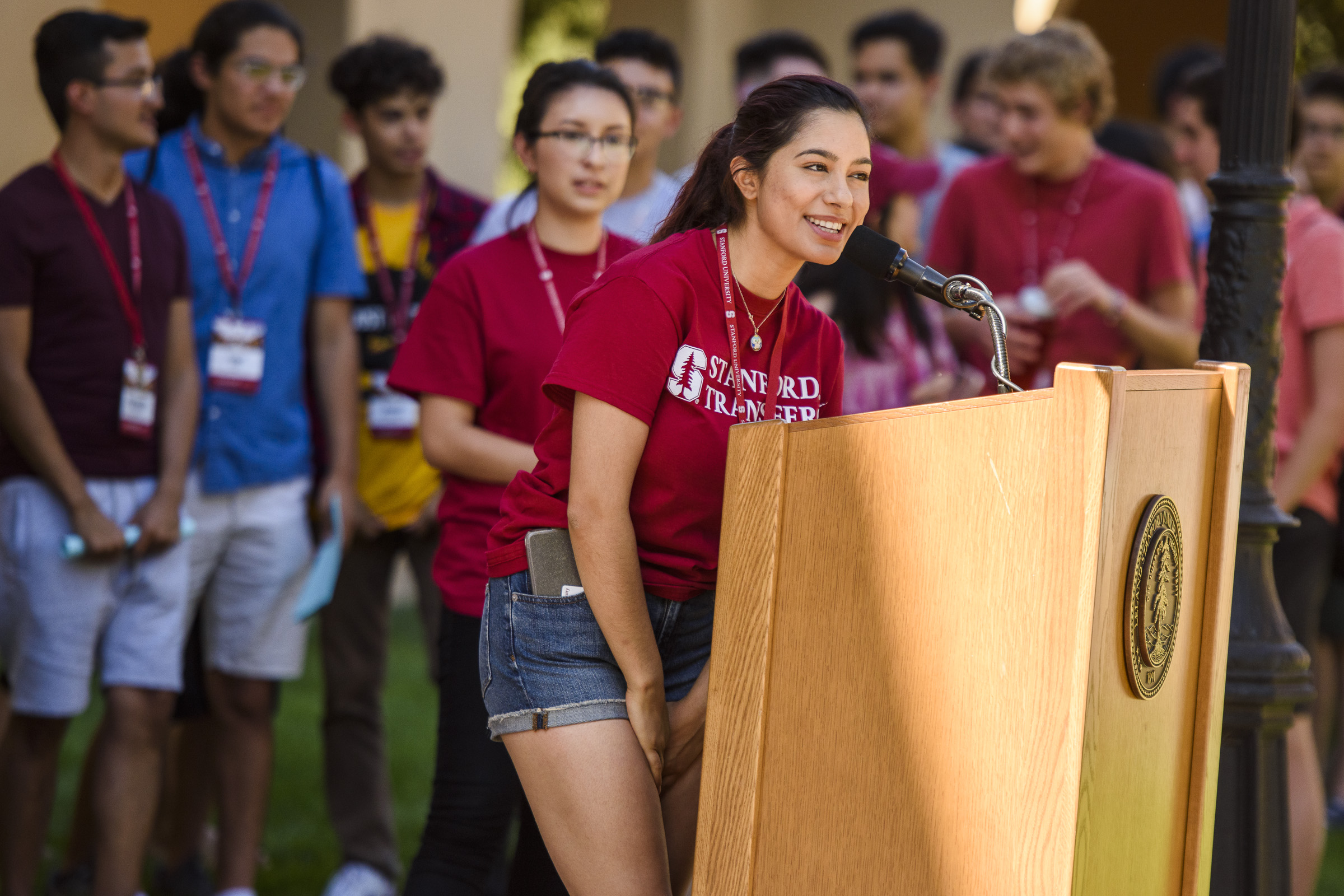Transfer student Danya Adib-Azpeitia was one of a large group of students who introduced themselves to the audience at the Chicanx/Latinx New Student and Family Welcome.