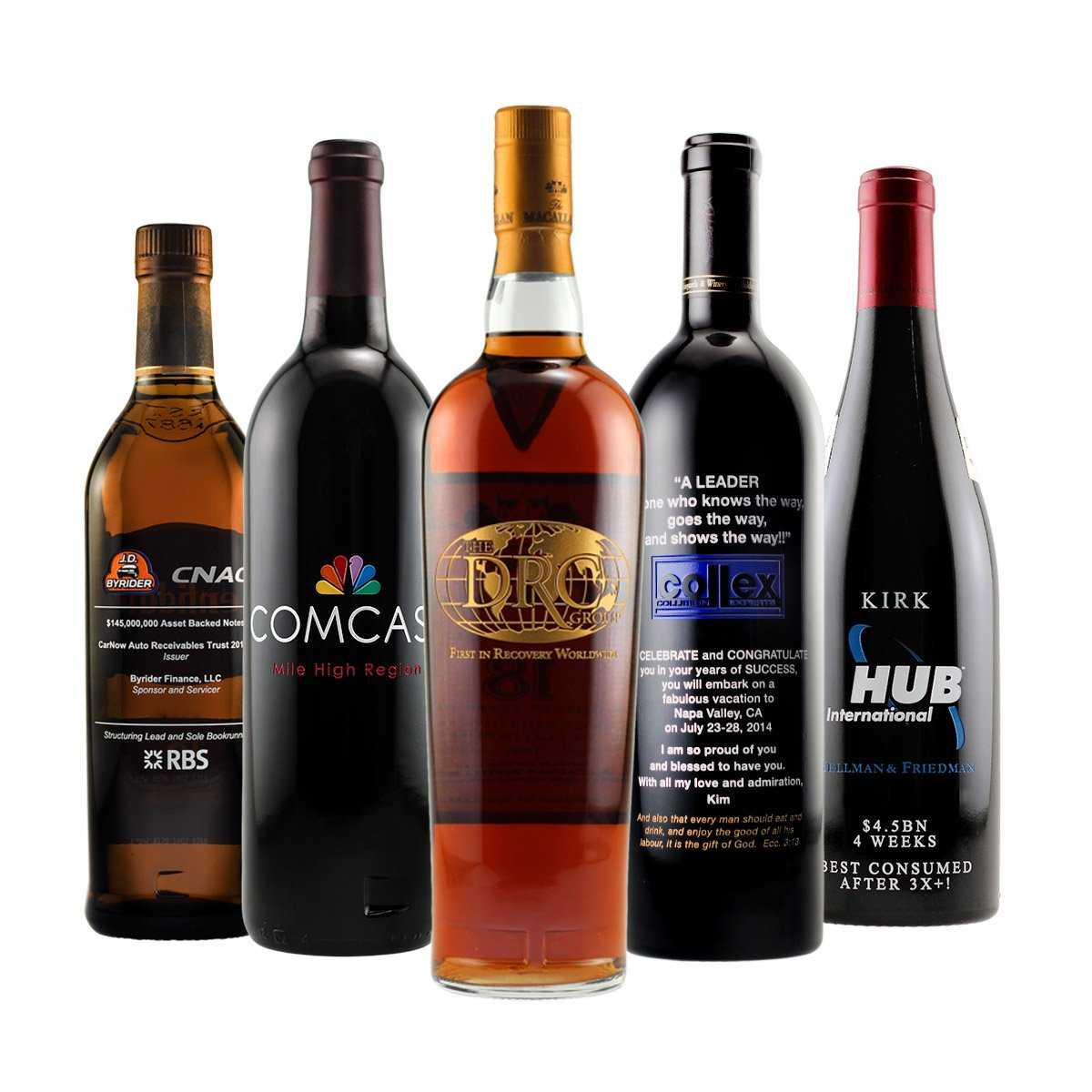 acquisitions and mergers corporate gift with etched wine bottles including red wine white wine and champagne