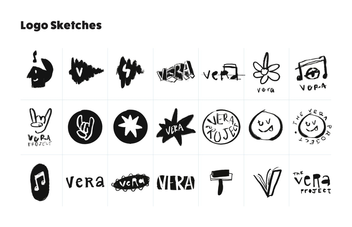 Logo iterations, sketches.