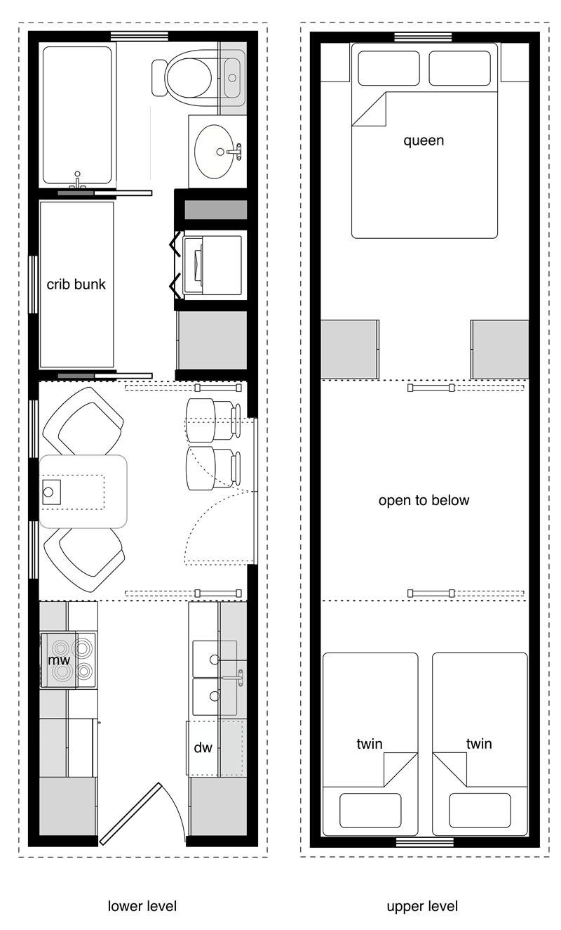 A 28' tiny house floor plan containing three beds upstairs (two twins squeezed into a single loft, plus a queen) and then a separate crib bunk downstairs which could fit another two children. In other words, there are six sleeping spaces available.