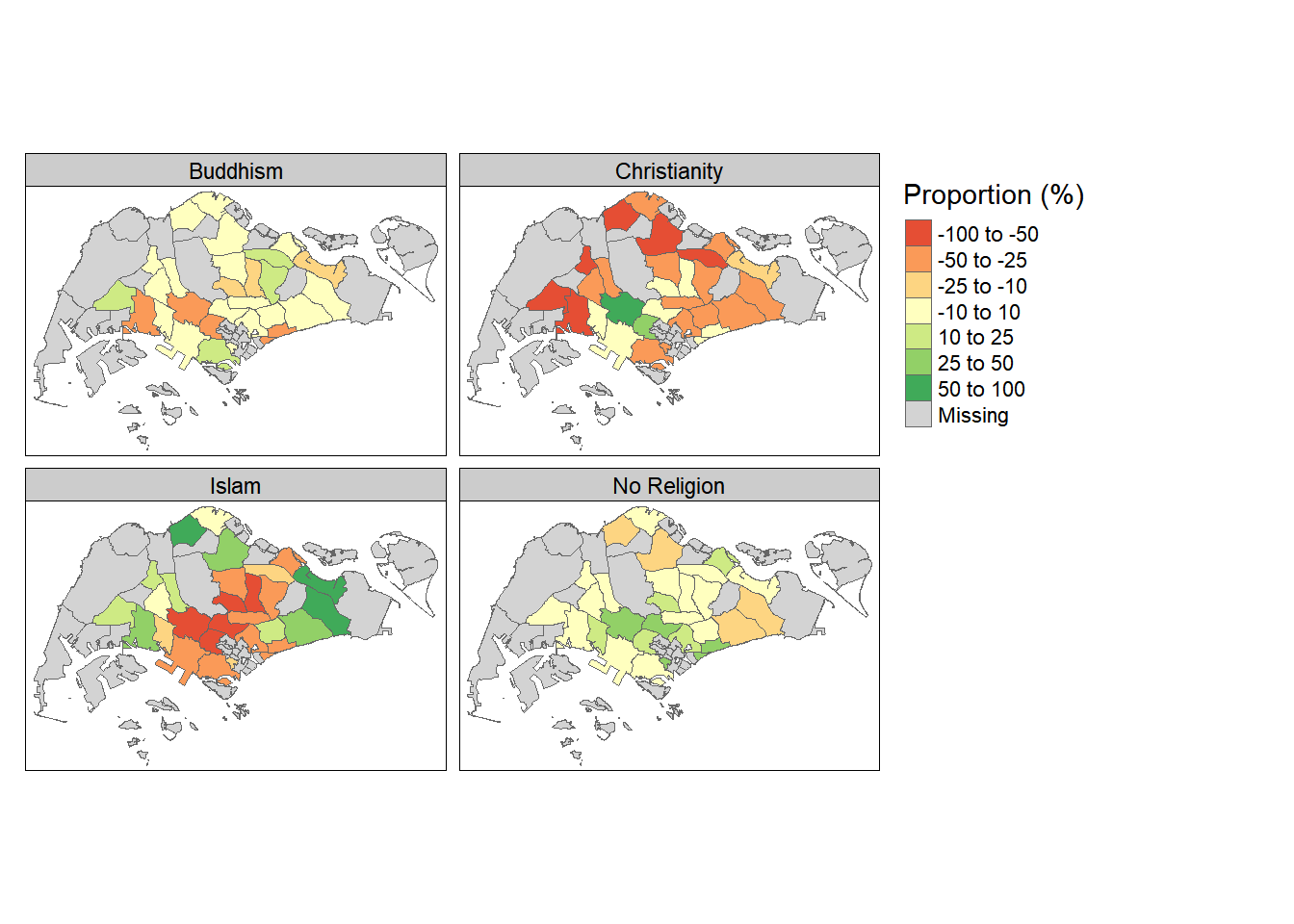 Distribution of Religious Beliefs (Relative to National Average)