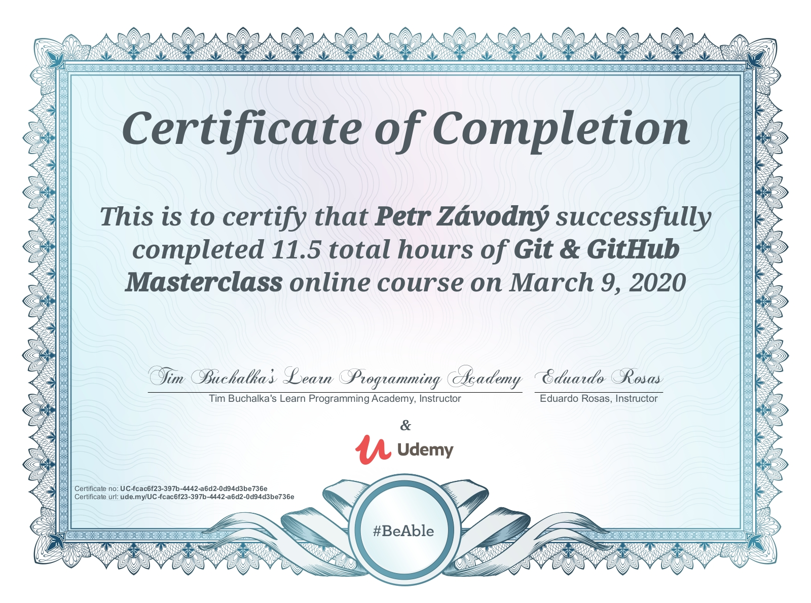 Git & GitHub Mastery Course Certificate