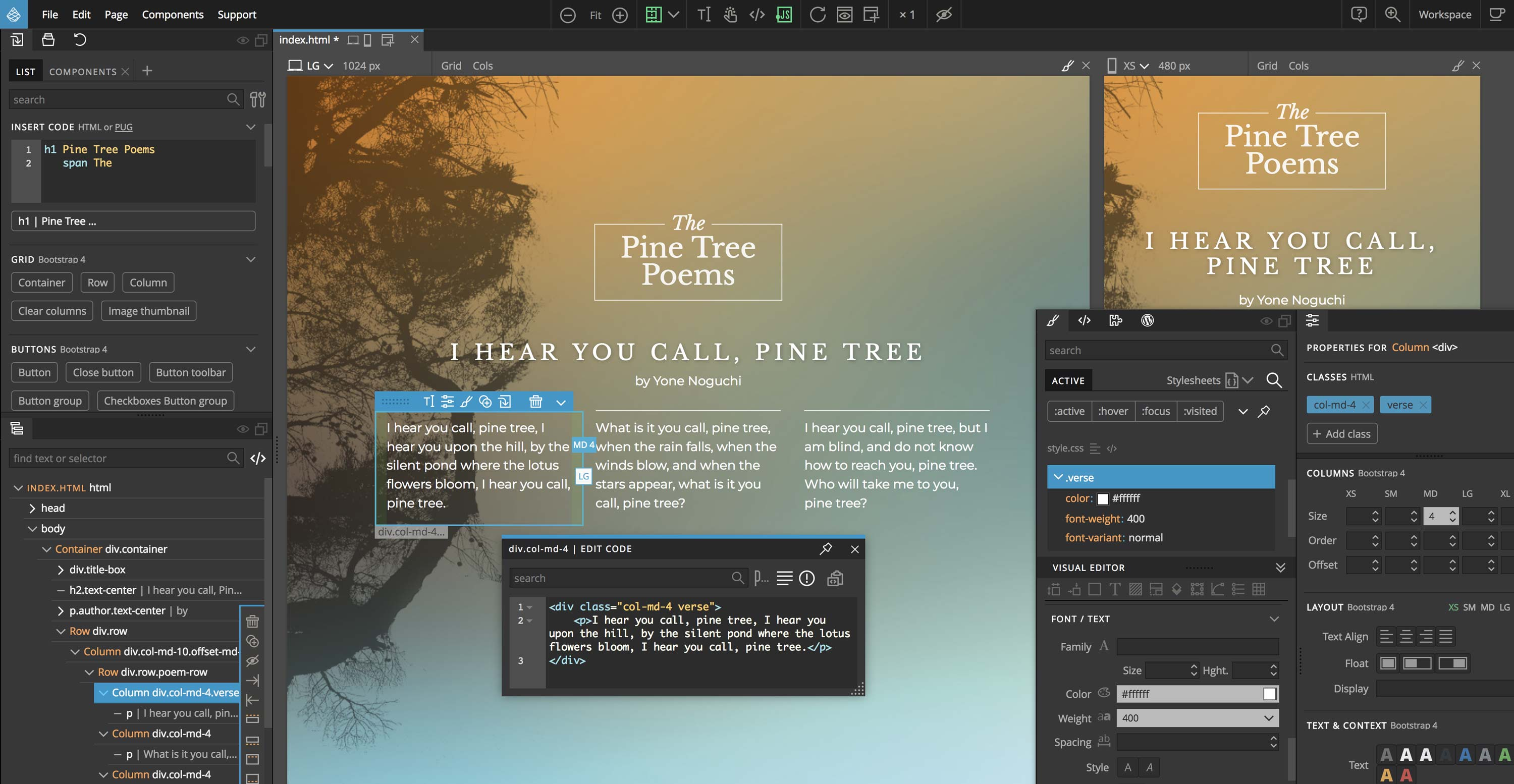 Pinegrow, visual website builder for professionals.