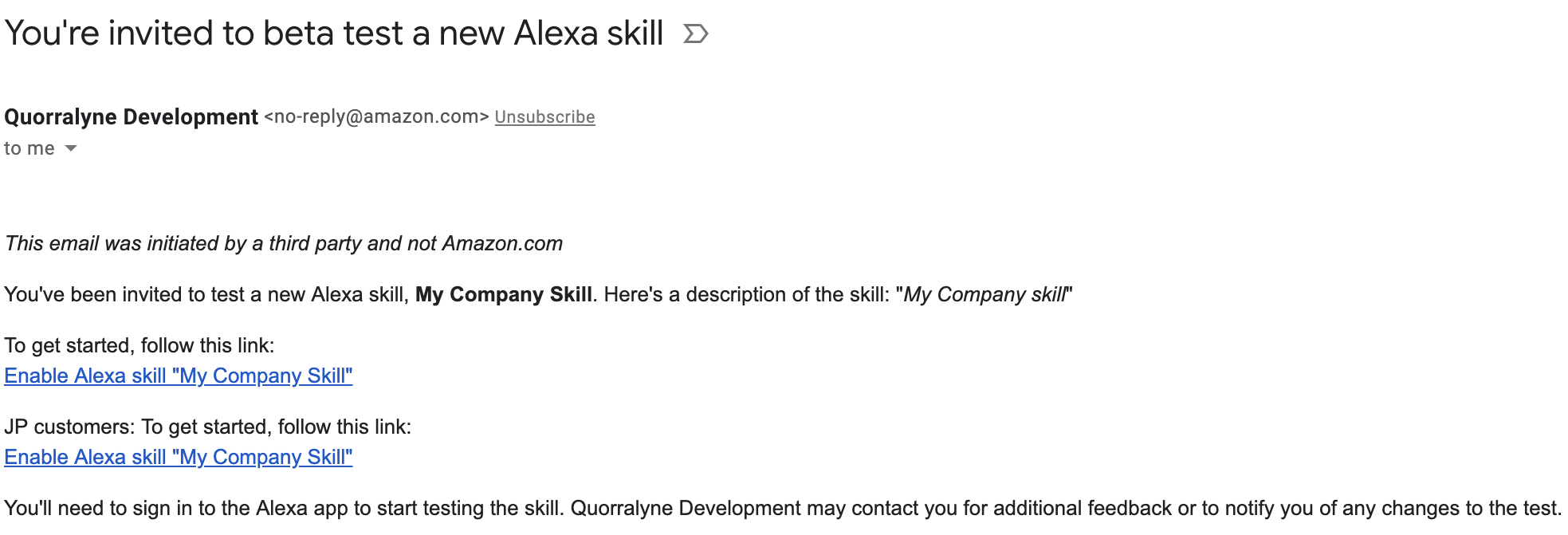 Alexa beta test email