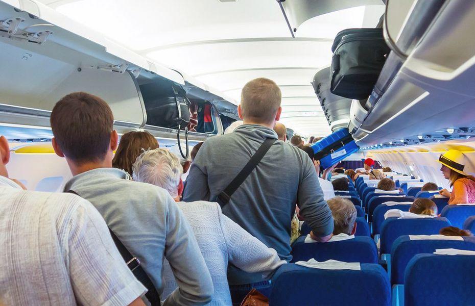 Supporters boarding plane