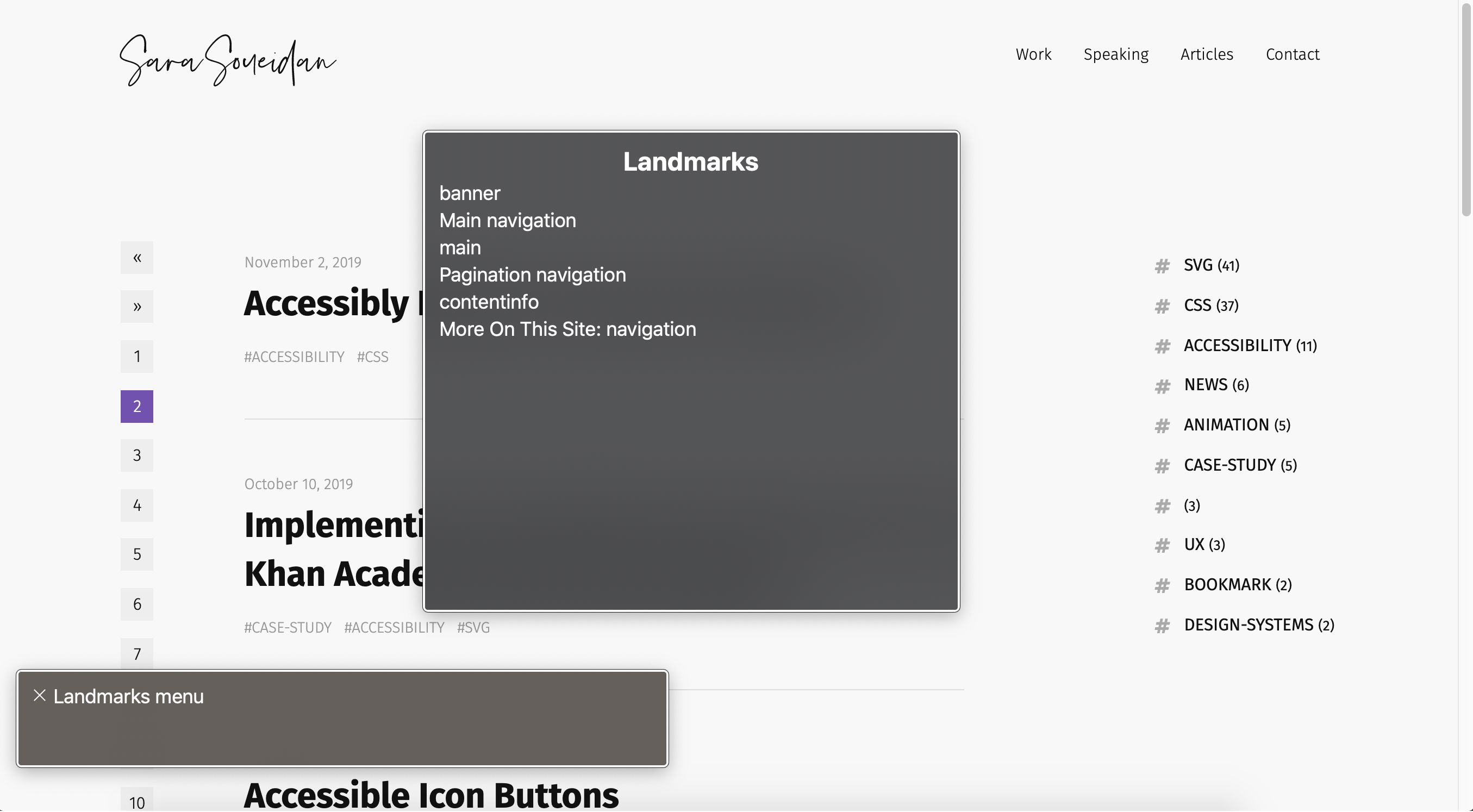 Screenshot of macOS's VoiceOver rotor open on sarasoueidan.com