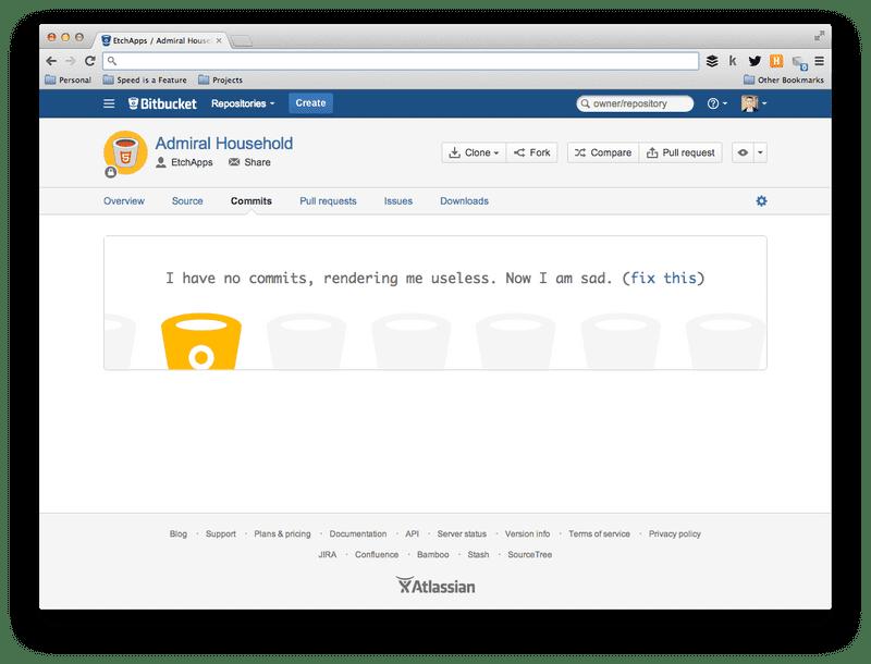 Screenshot of No commits in Bitbucket