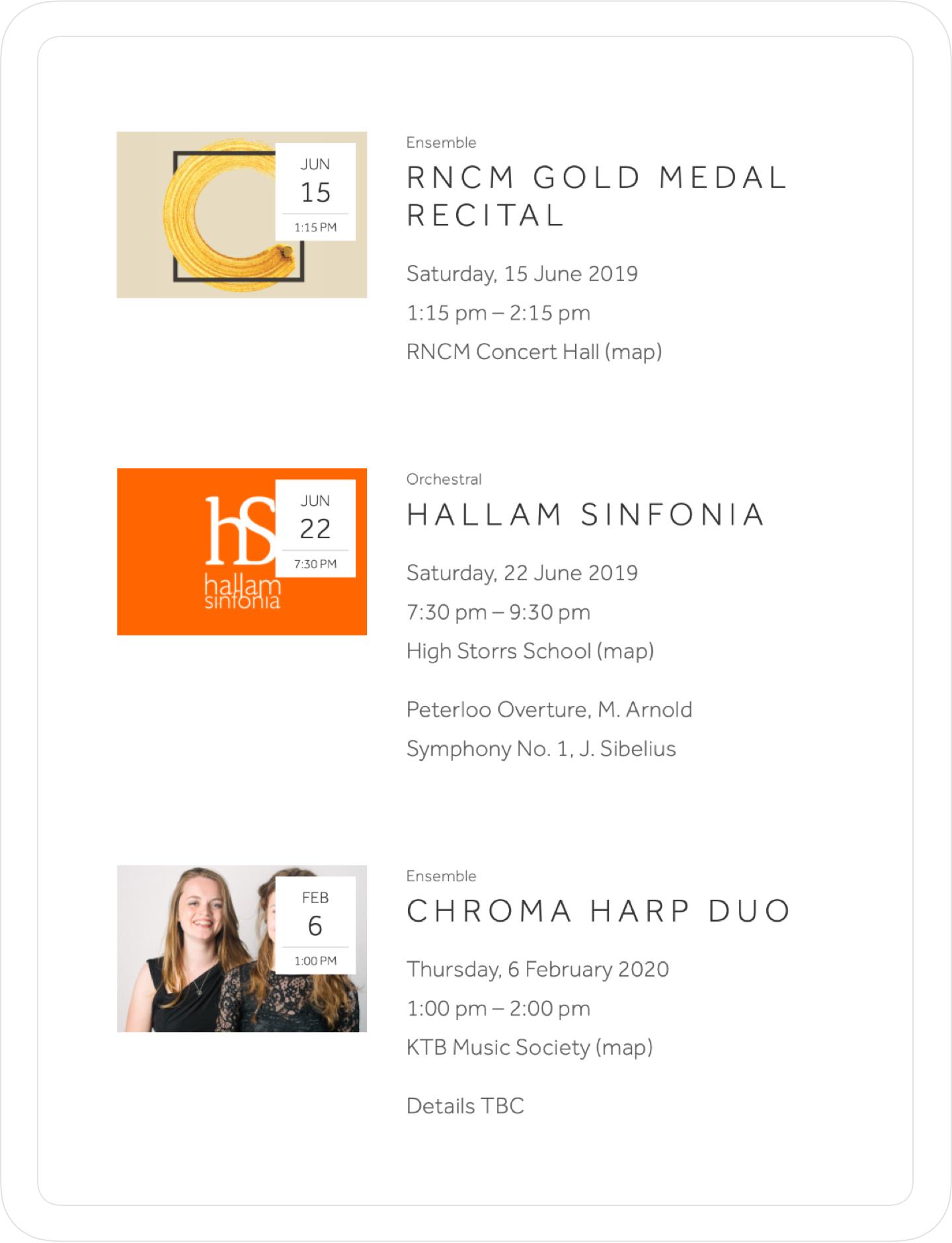 Responsive, simple, modern event calendar and website design by Jack Watkins for award winning classical musician and harpist, Lucy Nolan